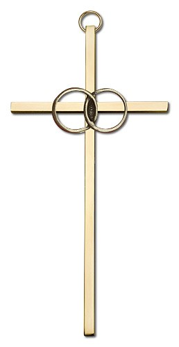 "Wedding Rings Cross 6"" - Gold Tone"