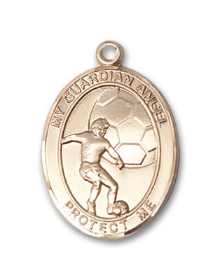Guardian Angel Soccer Patron Saint Medal - 14K Yellow Gold