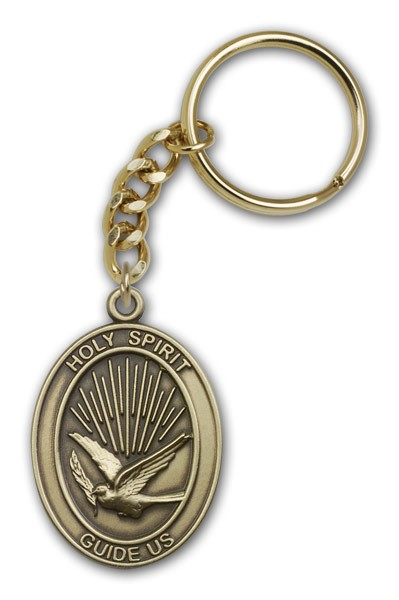 Holy Spirit Keychain - Antique Gold