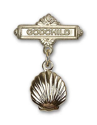 Baby Pin with Shell Charm and Godchild Badge Pin - Gold Tone