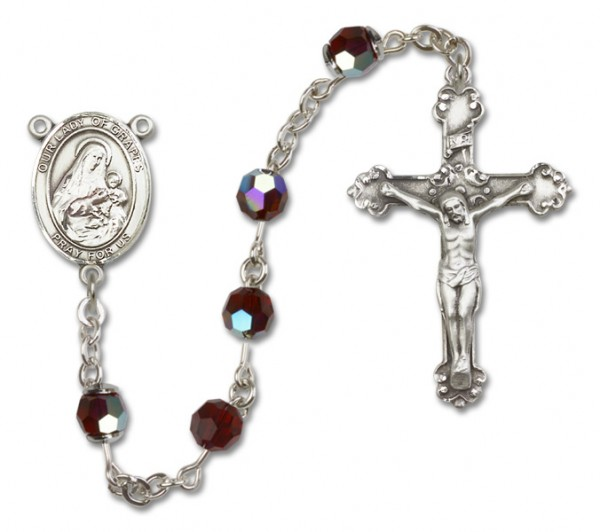 Our Lady of Grapes Sterling Silver Heirloom Rosary Fancy Crucifix - Garnet