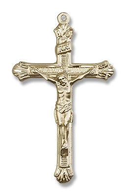 Men's Slim Textured Crucifix Necklace - 14K Solid Gold