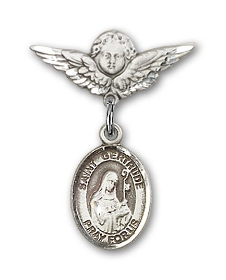 Pin Badge with St. Gertrude of Nivelles Charm and Angel with Smaller Wings Badge Pin - Silver tone