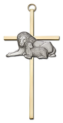 "Lion and Lamb Wall Cross 6"" - Two-Tone Gold"