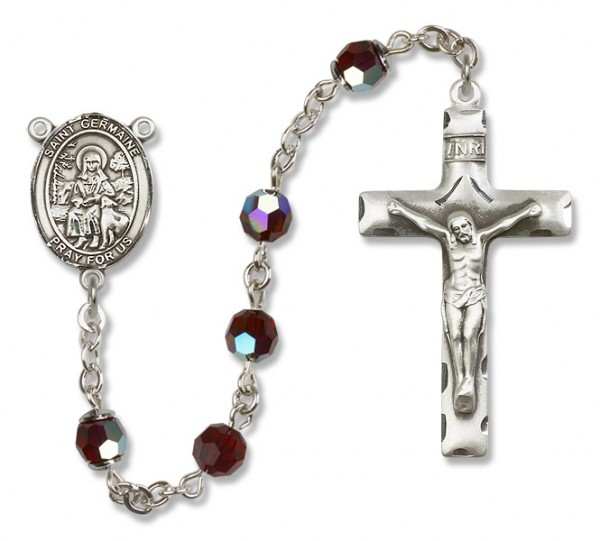 St. Germaine Cousin Sterling Silver Heirloom Rosary Squared Crucifix - Garnet