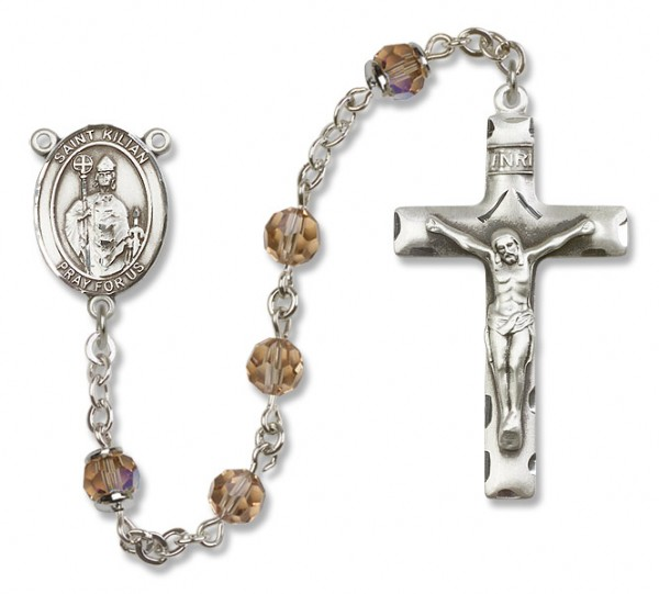 St. Kilian Sterling Silver Heirloom Rosary Squared Crucifix - Topaz