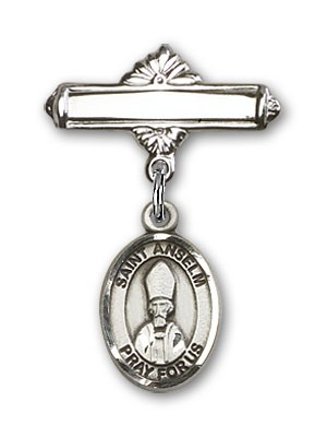 Pin Badge with St. Anselm of Canterbury Charm and Polished Engravable Badge Pin - Silver tone
