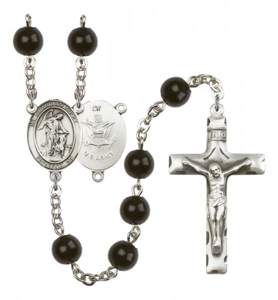 Men's Guardian Angel Army Silver Plated Rosary - Black