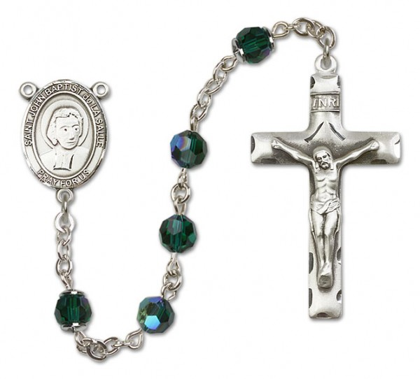 St. John Baptist de la Salle Sterling Silver Heirloom Rosary Squared Crucifix - Emerald Green