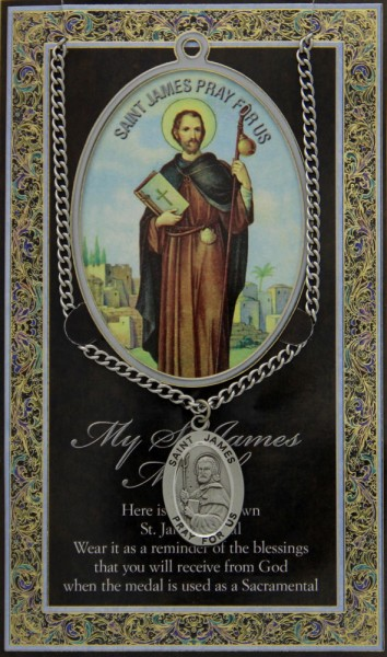 St. James the Greater Medal in Pewter with Bi-Fold Prayer Card - Silver tone