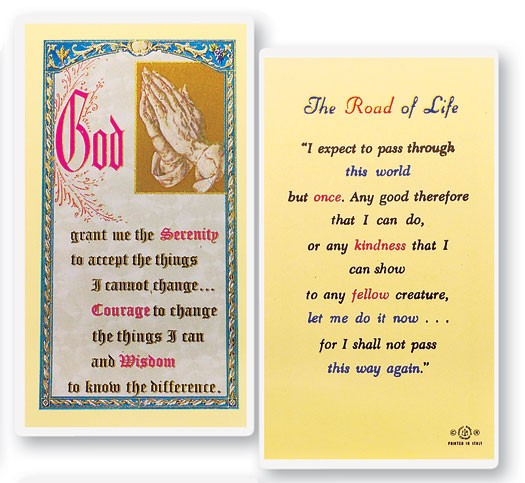 The Road of Life Serenity Laminated Prayer Cards 25 Pack - Full Color
