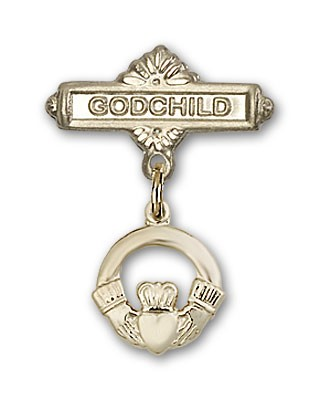 Baby Badge with Claddagh Charm and Godchild Badge Pin - 14K Solid Gold