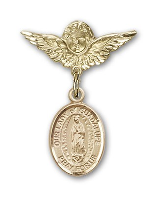 Pin Badge with Our Lady of Guadalupe Charm and Angel with Smaller Wings Badge Pin - 14K Yellow Gold