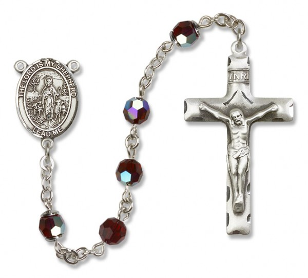 Lord Is My Shepherd Sterling Silver Heirloom Rosary Squared Crucifix - Garnet