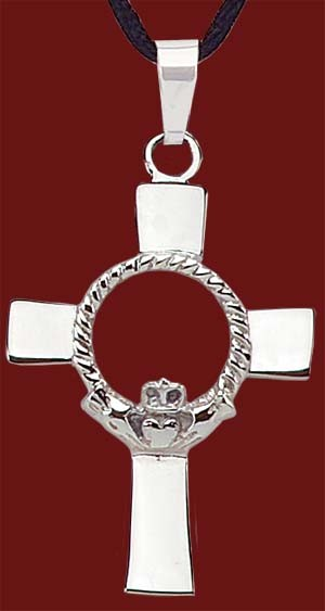 "Stainless Steel Claddagh Cross Pendant - 1 1/4""H - Silver"
