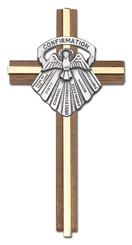 "Gifts of Confirmation Wall Cross in Walnut and Metal Inlay 6"" - Two-Tone Gold"