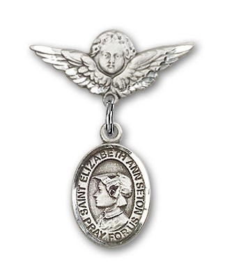 Pin Badge with St. Elizabeth Ann Seton Charm and Angel with Smaller Wings Badge Pin - Silver tone
