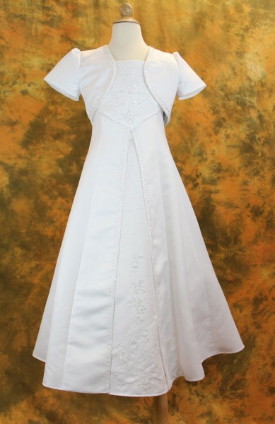 First Communion Dress with Beaded Satin and Bolero - White