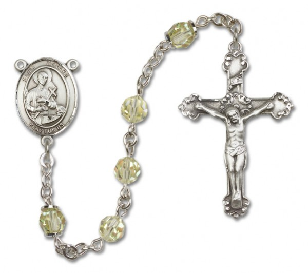 St. Gerard Majella Sterling Silver Heirloom Rosary Fancy Crucifix - Jonquil