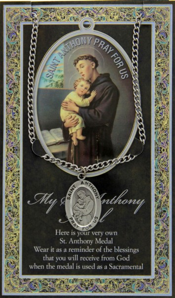 St. Anthony Medal in Pewter with Bi-Fold Prayer Card - Silver tone