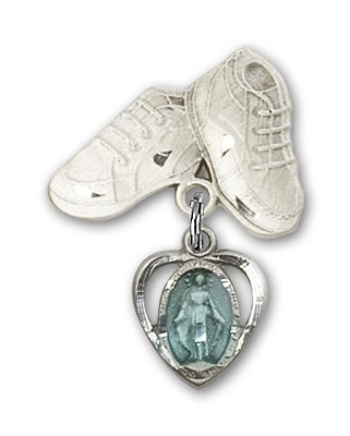Baby Badge with Miraculous Charm and Baby Boots Pin - Silver | Blue