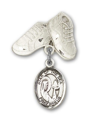 Baby Badge with Our Lady Star of the Sea Charm and Baby Boots Pin - Silver tone