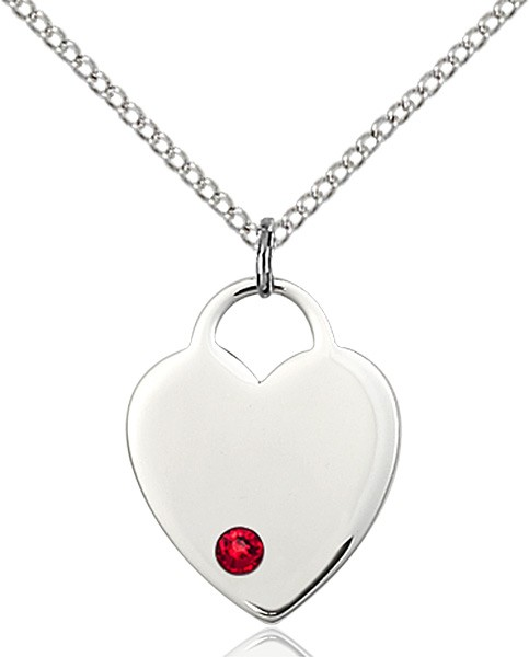 Medium Heart Shaped Pendant with Birthstone Options - Ruby Red
