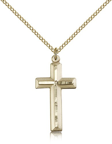 Matte Satin Finish Cross Women's Cross Necklace - 14KT Gold Filled