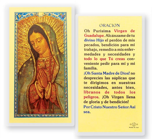 Oracion Oh Purisima Virgen Laminated Spanish Prayer Cards 25 Pack - Full Color
