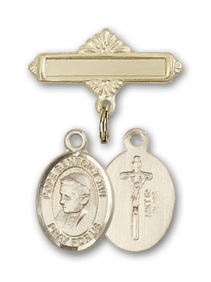 Pin Badge with Pope Benedict XVI Charm and Polished Engravable Badge Pin - Gold Tone