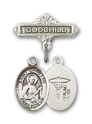 Pin Badge with St. Camillus of Lellis Charm and Godchild Badge Pin - Silver tone