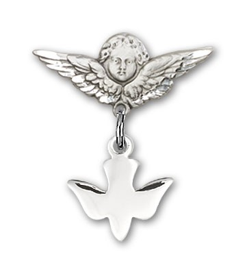 Baby Pin with Holy Spirit Charm and Angel with Smaller Wings Badge Pin - Silver tone