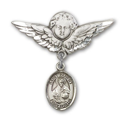 Pin Badge with St. Albert the Great Charm and Angel with Larger Wings Badge Pin - Silver tone