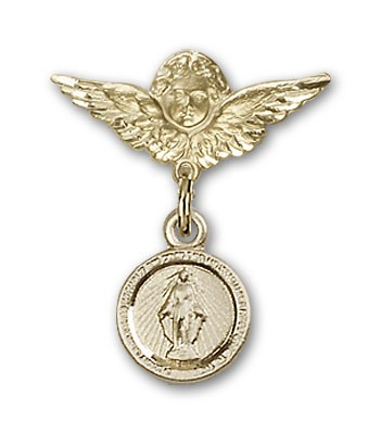 Baby Pin with Miraculous Charm and Angel with Smaller Wings Badge Pin - 14K Solid Gold