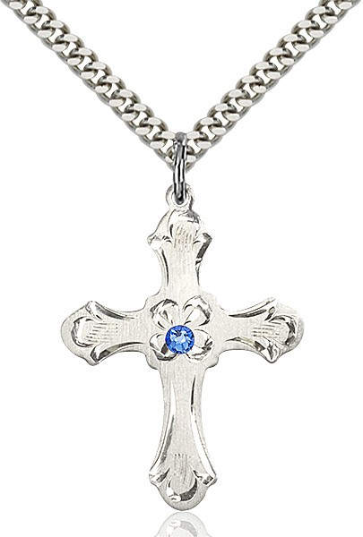 Budded Cross Pendant with Etched Border Birthstone Options - Sapphire