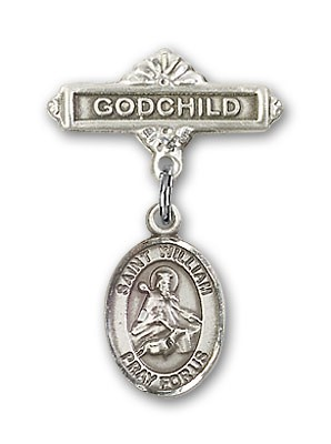 Pin Badge with St. William of Rochester Charm and Godchild Badge Pin - Silver tone