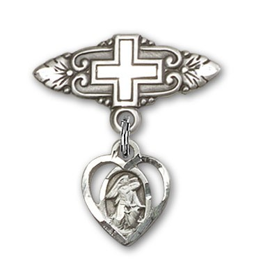 Pin Badge with Guardian Angel Charm and Badge Pin with Cross - Silver tone