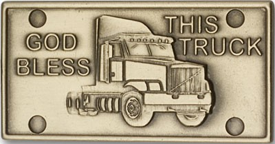 God Bless This Truck Visor Clip - Antique Gold