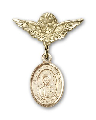 Pin Badge with Our Lady of la Vang Charm and Angel with Smaller Wings Badge Pin - Gold Tone
