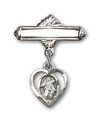 Pin Badge with Guardian Angel Charm and Polished Engravable Badge Pin - Silver tone