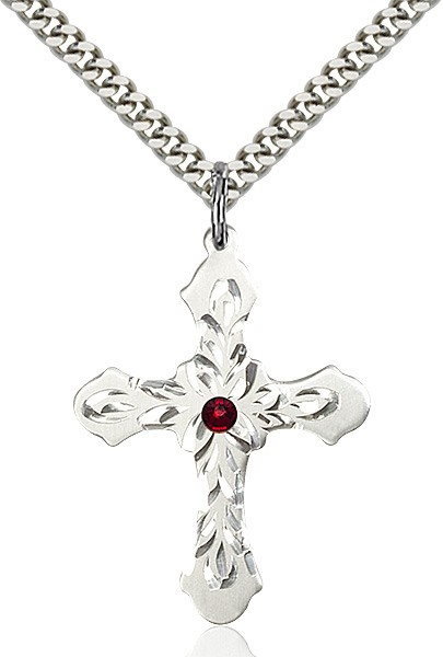 Floral and Petal Cross Pendant with Birthstone Options - Garnet