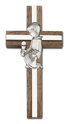 First Communion Boy Wall Cross in Walnut and Metal Inlay 4 inch - Silver tone