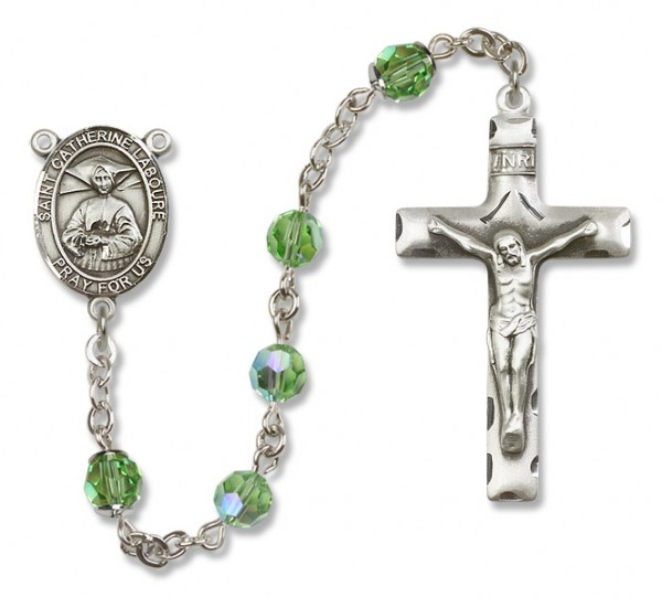 St. Catherine Laboure Sterling Silver Heirloom Rosary Squared Crucifix - Peridot