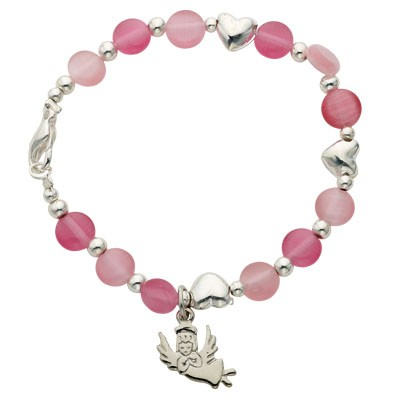 Pink Baby Bracelet with Guardian Angel Charm   - Pink