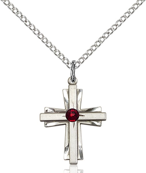 Youth Etched Cross Pendant with Birthstone Options - Garnet