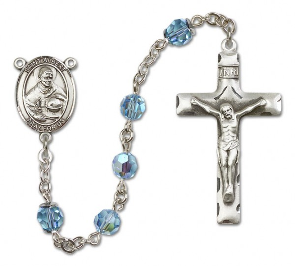 St. Albert the Great Sterling Silver Heirloom Rosary Squared Crucifix - Aqua