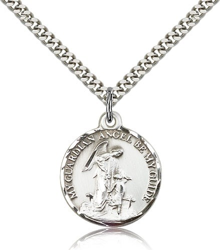 Round Guardian Angel Be My Guide Medal - Sterling Silver
