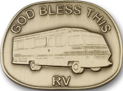 God Bless This RV Visor Clip - Antique Gold