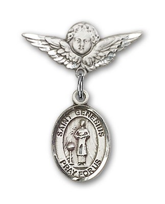 Pin Badge with St. Genesius of Rome Charm and Angel with Smaller Wings Badge Pin - Silver tone