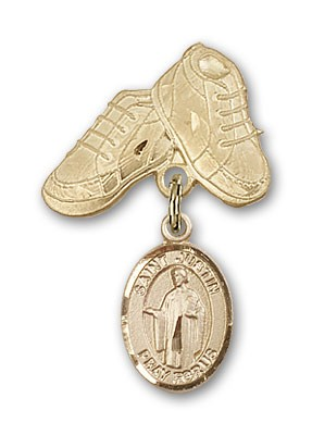 Pin Badge with St. Justin Charm and Baby Boots Pin - 14K Solid Gold